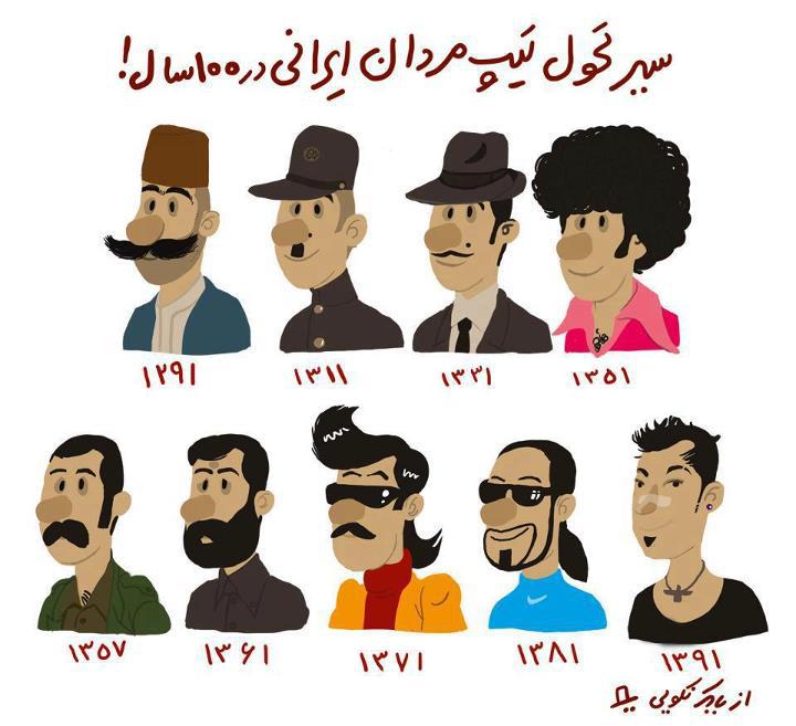 کارتون/ سیر تحول تیپ مردان ایرانی