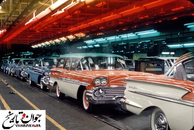 خط تولید خودروی قدیمی امریکایی/عکس