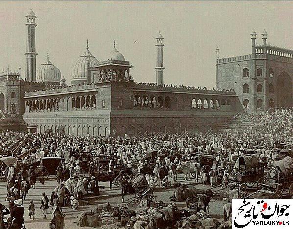 عکسی قدیمی از مسجد جامع دهلی