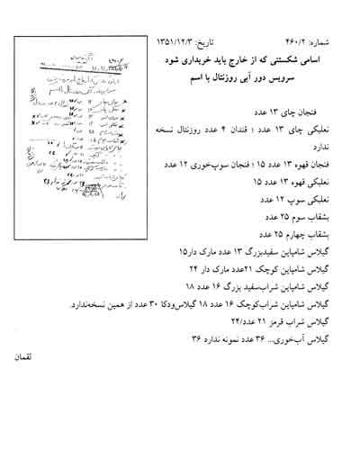 واردات نعلبکی تا شامپاین توسط دربار پهلوی