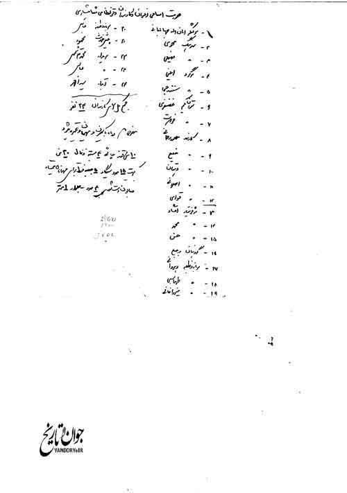 فهرست خادمان 24 نفره محمدرضا پهلوی/سند