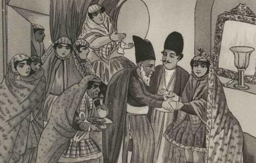 عکس/ سنت «دست  به  دست  دادن» در جریان  برگزاری مراسم عروسی در دوره  قاجاریه