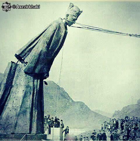 پایین کشیده مجسمه فرح در شمال ایران