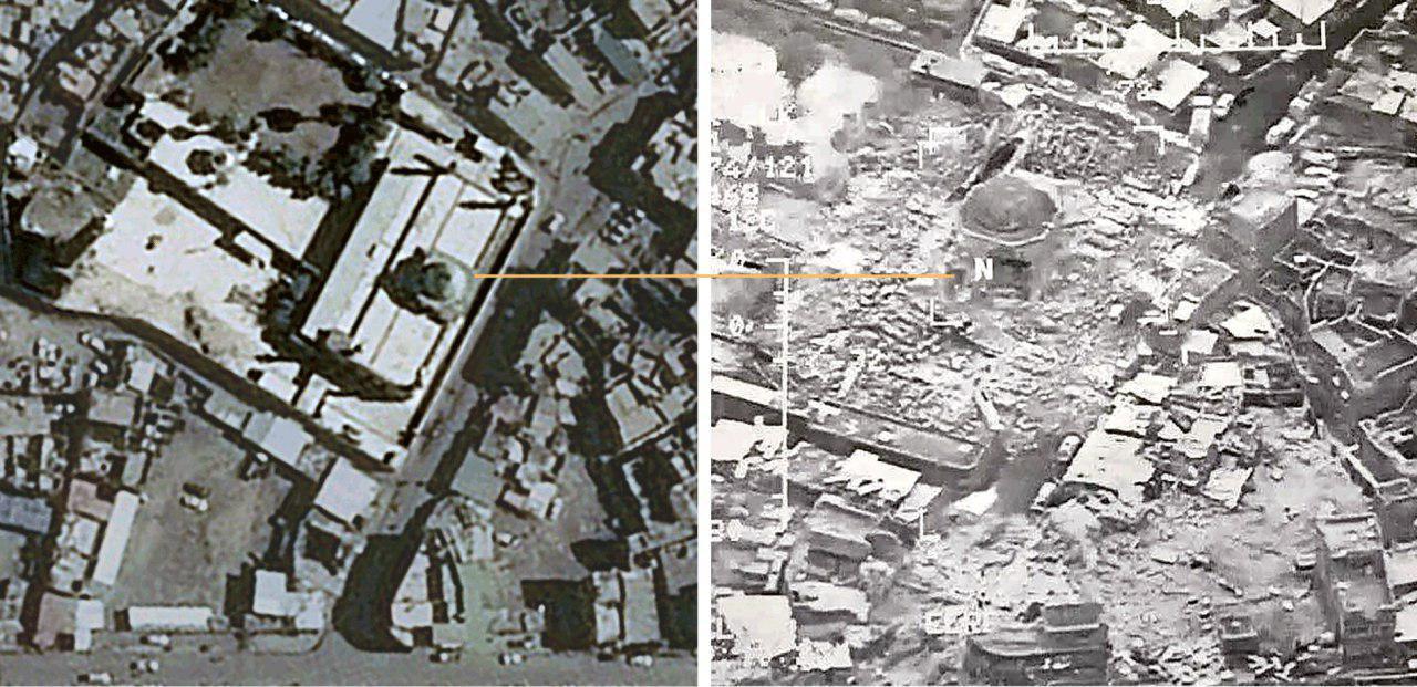 تصویر ماهواره ای مسجد النوری قبل و پس از انفجار توسط داعش