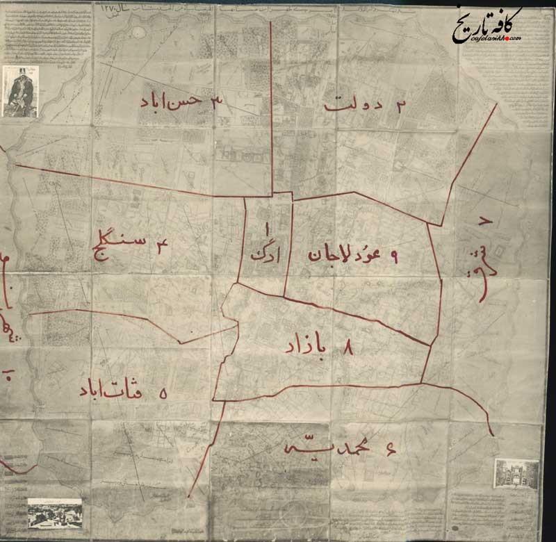 ده منطقه معروف تهران در زمانه ناصرالدین شاه+تصویری از نقشه دیده نشده تهران در 150 سال پیش