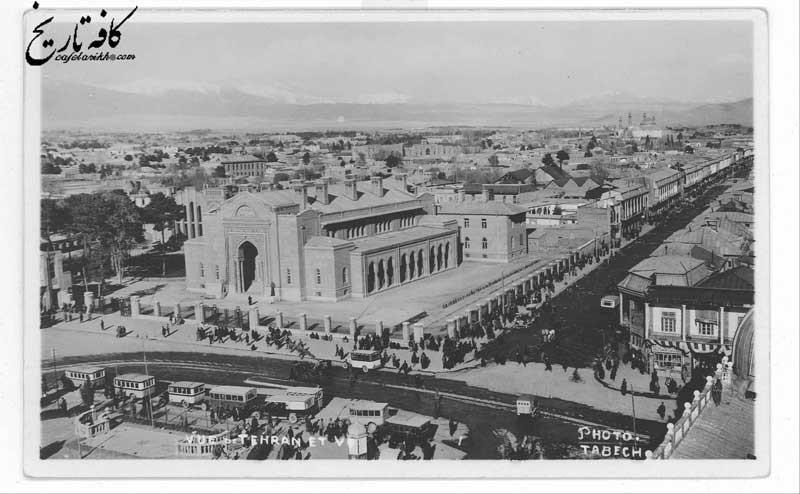 تصویری  هوایی از شهر تهران و بانک شاهنشاهی در حدود یک قرن پیش
