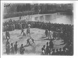 نمایش اکروباتیک و کشتی پهلوانی در میدان ارک تهران، در دوران سلطنت ناصرالدین شاه