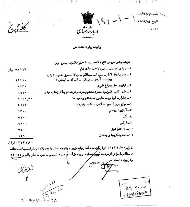 هزینه عروسی در کاخ شاهپور غلامرضا