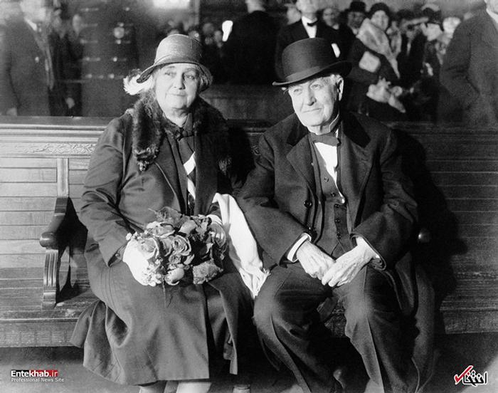 تصویری از ادیسون و همسرش مینا میلر ادیسون