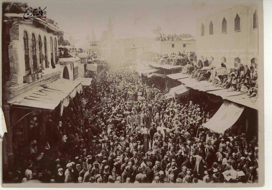 تجمع اهالی شام به هنگام سفر امین السلطان به دور دنیا